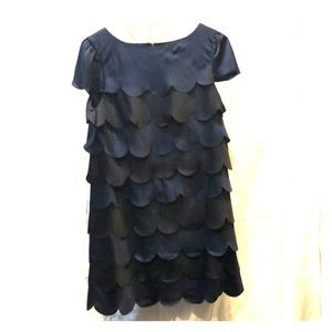 Black & navy scalloped evening dress sz 4